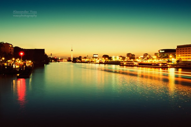 Berlin - Panorama at Night: Spree River and East Side Gallery