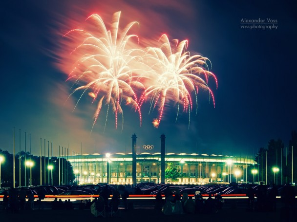 Berlin - Olympic Stadium with Fireworks