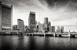 Boston Skyline / Schwarz-Weiss
