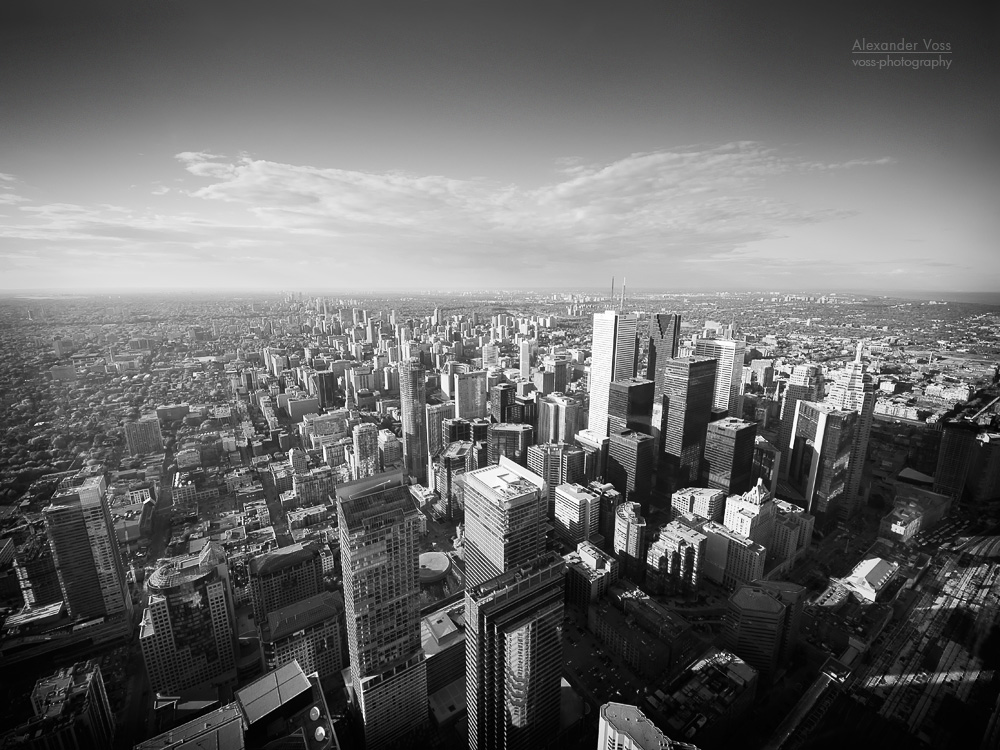 Toronto view from cn tower black and white