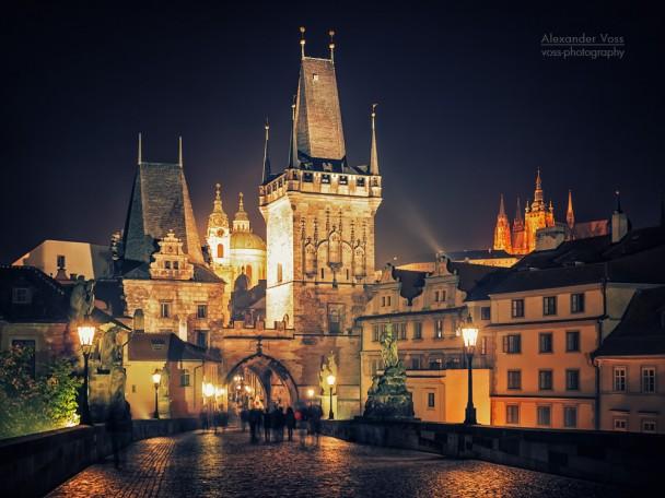 Prag bei Nacht - Karlsbrücke