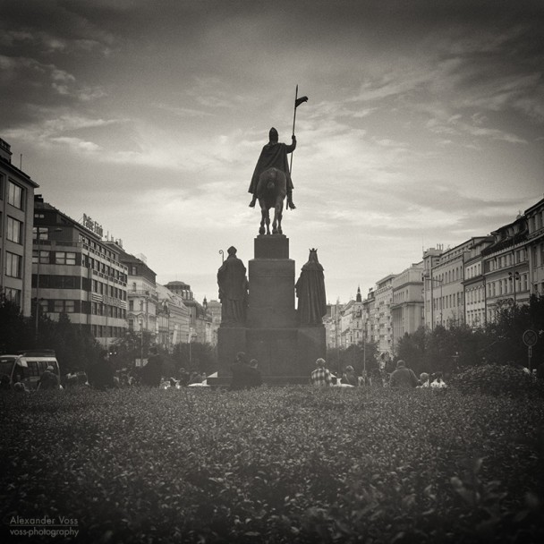 Analog Black and White Photography: Prague - Wenceslas Square