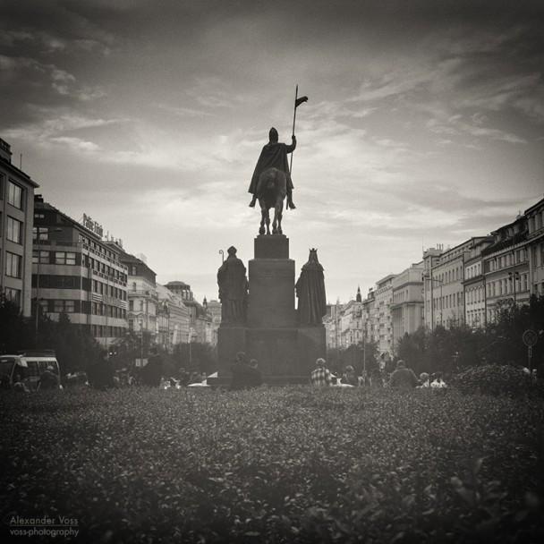 Analoge Schwarzweiss-Fotografie: Prag - Wenzelsplatz
