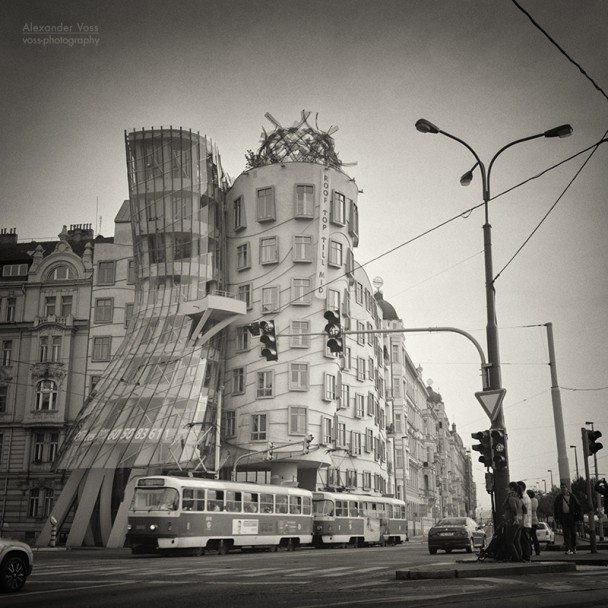 Analog Black and White Photography: Prague - Dancing House