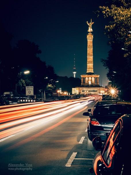 Berlin bei Nacht - Strasse des 17. Juni / Siegessäule