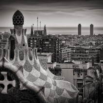 Schwarzweissfotografie: Barcelona Skyline
