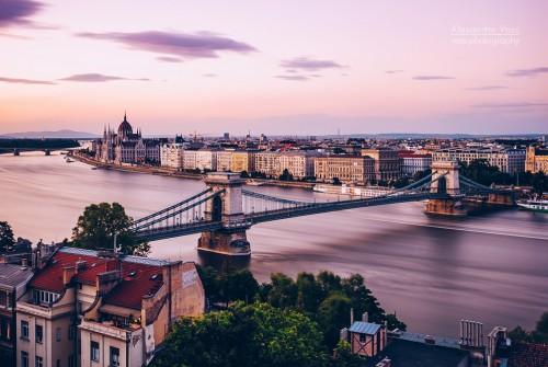 Budapest – Kettenbrücke und Donau (Langzeitbelichtung)