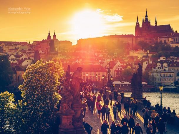 Prague - Charles Bridge in Sunset