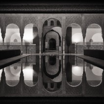 Black and White Photography: Alhambra at Night / Court of the Myrtles