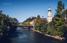 Graz – Mur und Franziskanerkirche