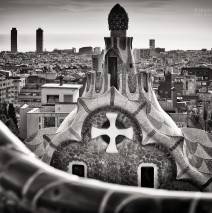 Black and White Photography: Barcelona Skyline / Park Güell