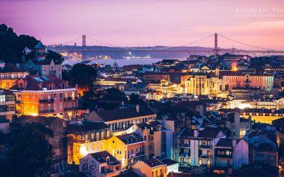 Lissabon – Skyline im Sonnenuntergang