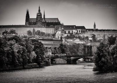 Schwarzweiss-Fotografie: Prag - Skyline / Veitsdom