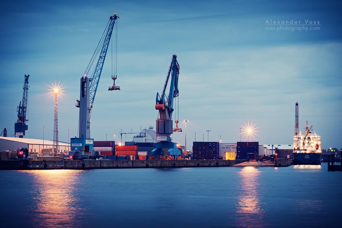 Hamburg Harbour during blue hour